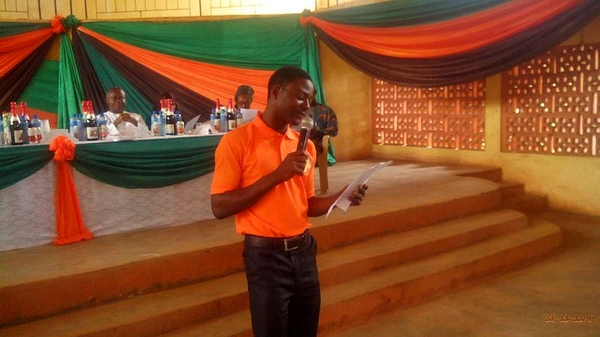 Scholarship beneficiary addressing the gathering